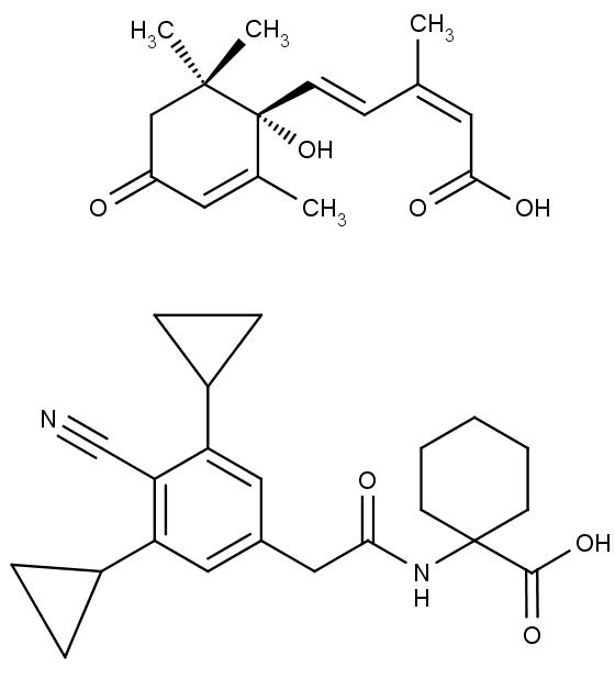 Nahoře chemická struktura kyseliny abscisové, dole opabactinu.