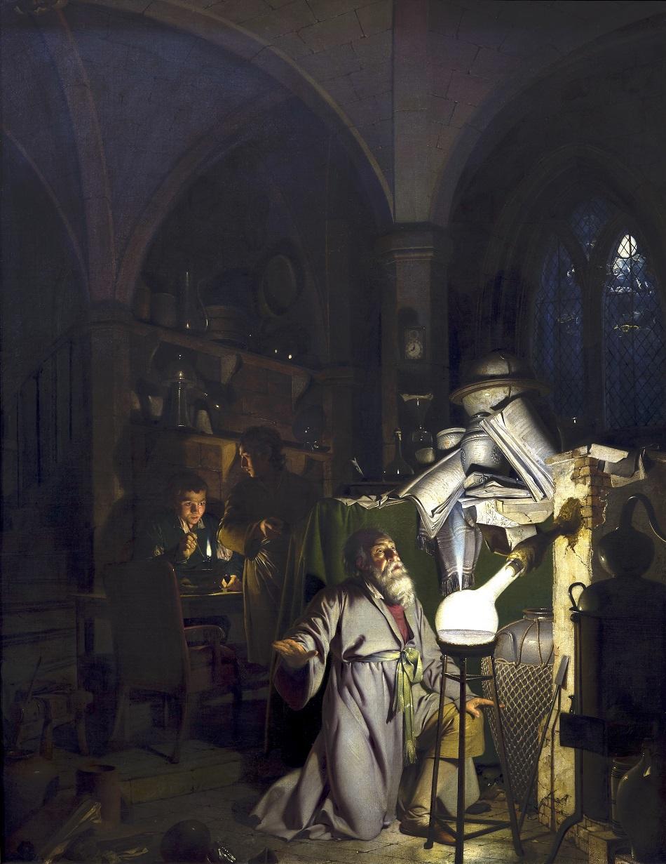 Alchymista objevuje fosfor, obr.Joseph Wright of Derby [Public domain].