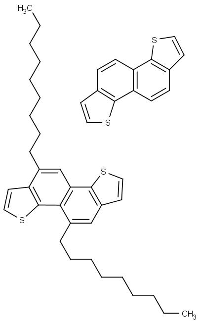 Vpravo nahoře nealkylovaný naftodithiofen, dole alkylovaný.