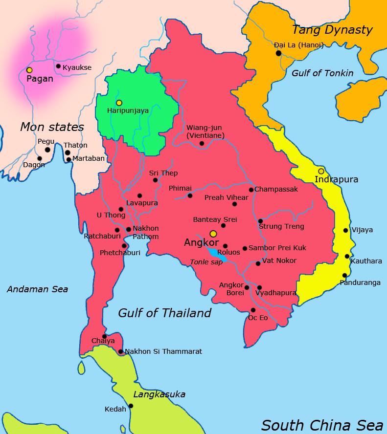 Ankgorská říše (červeně) a sousední státy v 9.století, obr. Javierfv1212 [CC0].