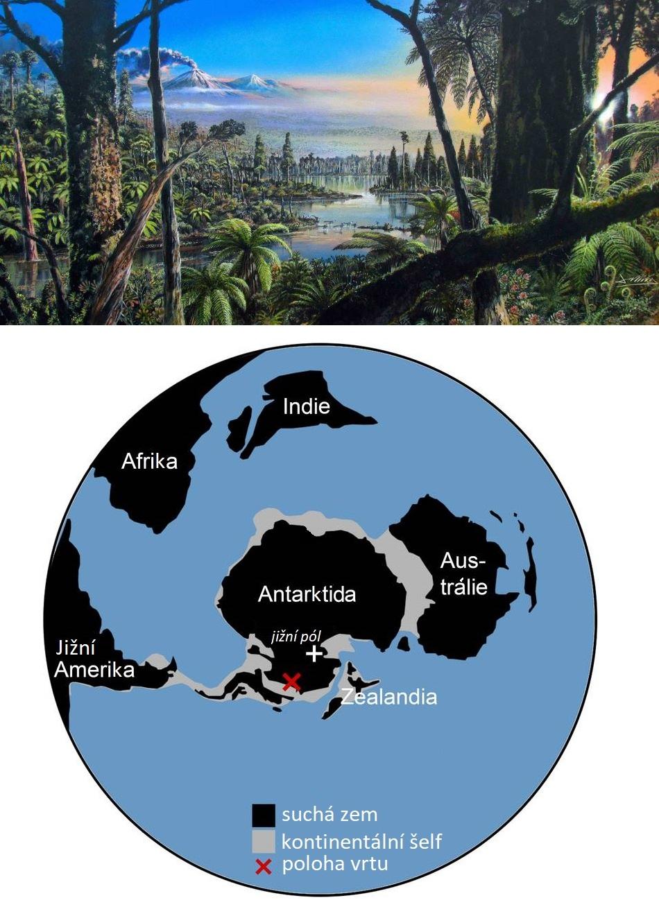 Nahoře možný vzhled křídového antarktického pralesa, dole jižní polární oblast v době vzniku usazenin před nějakými 90 miliony let, obr. Alfred-Wegener-Institut, James McKay, Creative Commons licence CC-BY 4.0.
