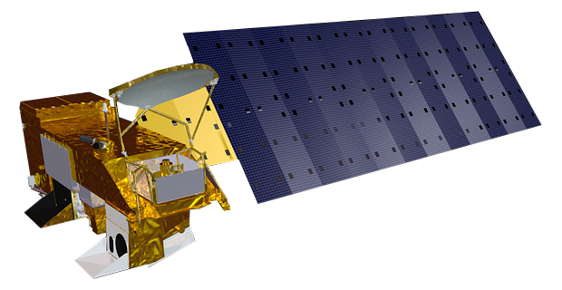 Družice Aqua vypuštěná NASA v roce 2002, foto National Aeronautics and Space Administration (NASA)/Public domain.