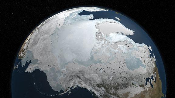 Maximální zalednění Arktidy v roce 2010, foto NASA.