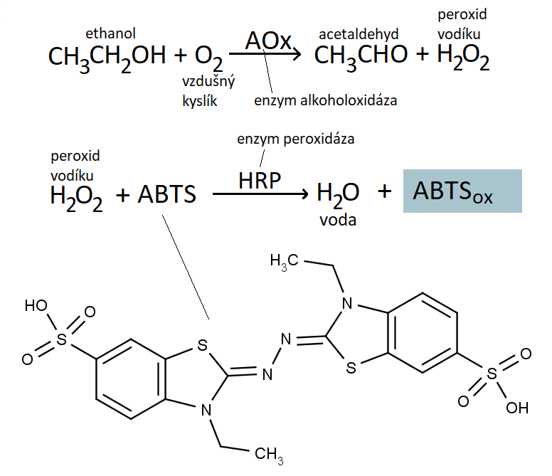 Reakční schéma barevné reakci dokazující přítomnost ethonolu v potu.
