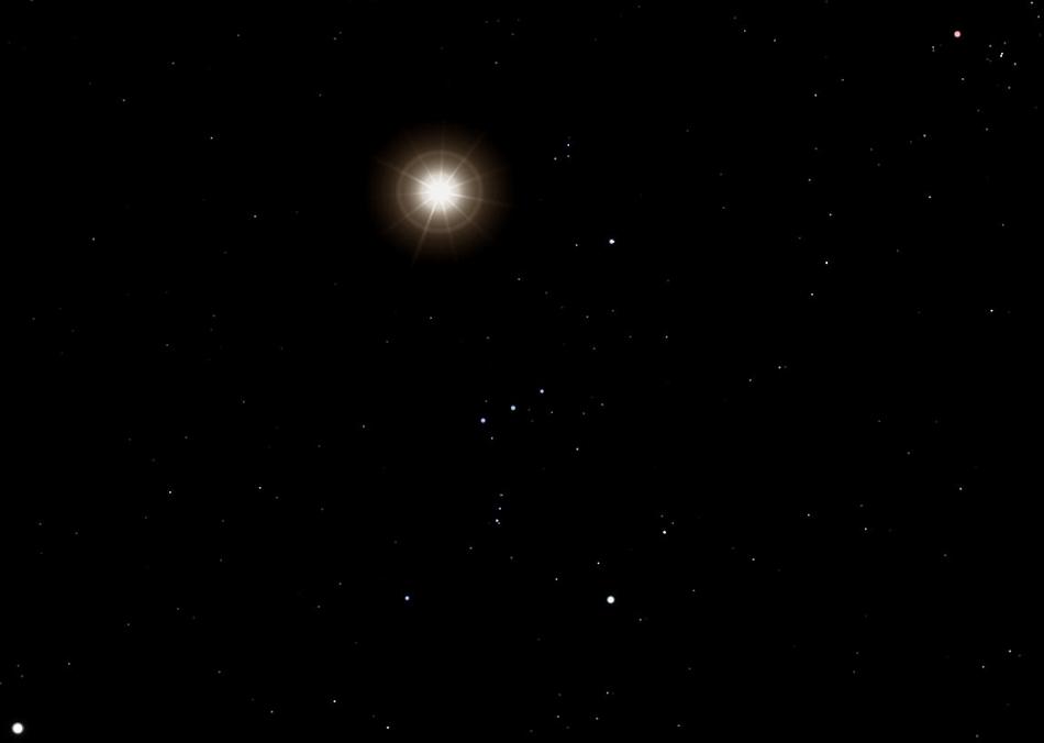 Takto bude vypadat souhvězdí Orion při pohledu ze Země, až Betelgeuze vybuchne jako supernova, obr. HeNRyKus [GPL (http://www.gnu.org/licenses/gpl.html)].