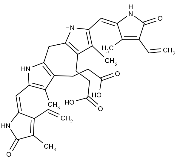 Chemická struktura bilirubinu.