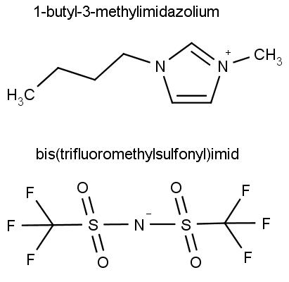 Chemická struktura elektrolytu, 1-butyl-3-methylimidazolium bis(trifluoromethylsulfonyl)imidu.