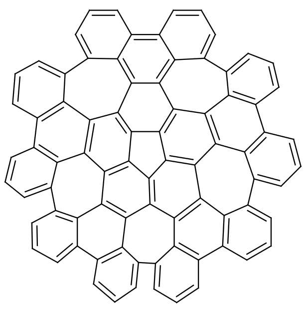 Vzorec molekuly nově připravené sloučeniny. Její průměr čini 0,13 nm.
