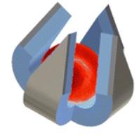 Kresba jedné sklapnuté pastičky s chycenou červenou krvinkou, Nano Lett., 2014, 14 (7), pp 4164–4170, DOI: 10.1021/nl500136a
