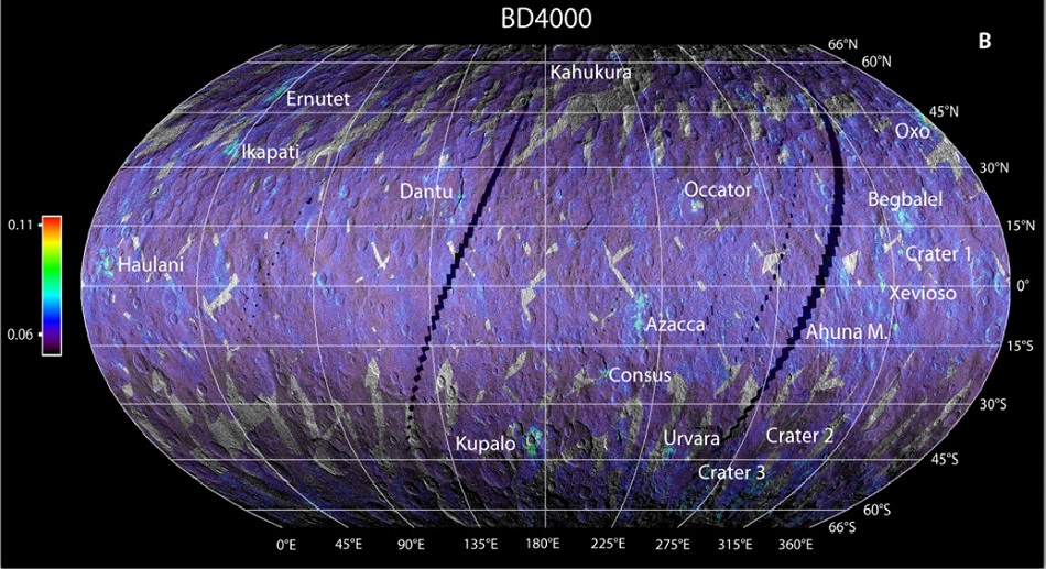 Rozmístění uhličitanů na povrchu Ceresu měřených v infračervené záření o vlnové délce 3,9 mikrometrů (F.G. Carrozzo et al., Nature, formation, and distribution of carbonates on Ceres, Science Advances  14 Mar 2018: Vol. 4, no. 3, e1701645, DOI: 10.1126/sciadv.1701645)