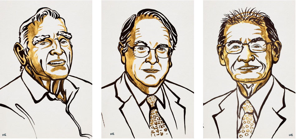 Laureáti Nobelovy ceny za chemii pro rok 2019. Zleva doprava John B. Goodenough, M. Stanley Whittingham a Akira Yoshino, obr. Nobel Media/Niklas Elmehed.