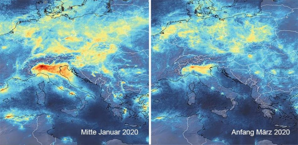 Snížení koncentrace oxidů dusíku v atmosféře nad Evropou, foto ESA/ CC BY-SA 3.0 IGO.