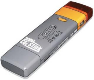 Cellular Seizure Investigation Stick ve skutečné velikosti. Barevné pruhy na jednom konci udávají typ konektoru (foto Parabel Corporation)