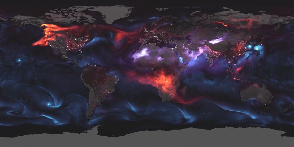 Aerosol v zemské atmosféře, červená označuje pevný uhlíkový, modrá vzniklý z mořské vody a fialová prach z pouští, NASA Earth Observatory, GEOS FP, Joshua Stevens.