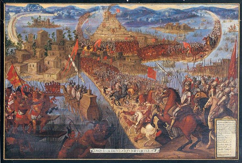 Pád Tenochtitlanu ze série dobytí Mexika, olej neznámého mexického malíře ze druhé poloviny 17.století, Unknown author/Public domain.