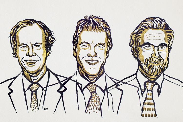 Laureáti Nobelovy ceny za fyzilogii a lékařství pro rok 2019. Zleva doprava William G. Kaelin Jr., Sir Peter J. Ratcliffe a Gregg L. Semenza, obr.Nobel Media/Niklas Elmehed.