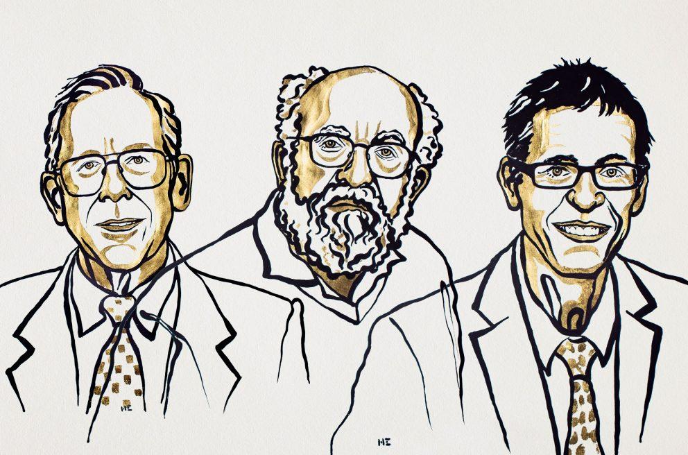 Laureáti Nobelovy ceny za fyziku pro rok 2019. Zleva doprava James Peebles, Michel Mayor a Didier Queloz, obr. Nobel Media/Niklas Elmehed.