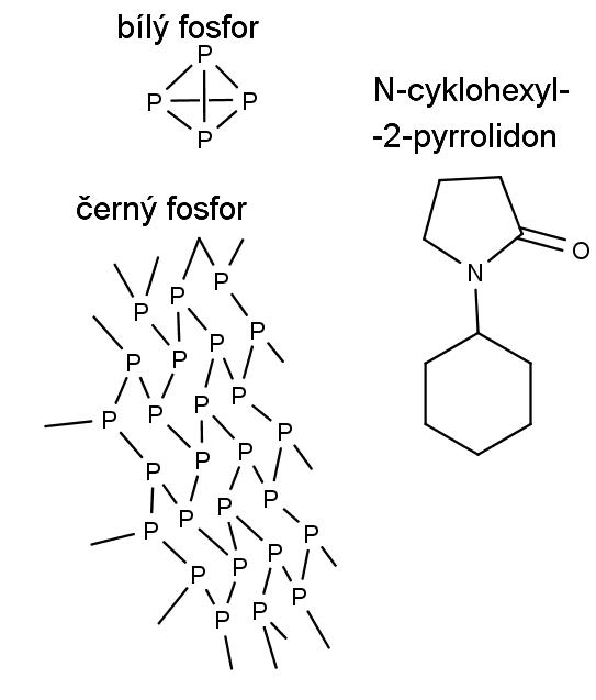 struktura bílého a černího fosforu a N-cyklohexyl-2-pyrrolidonu