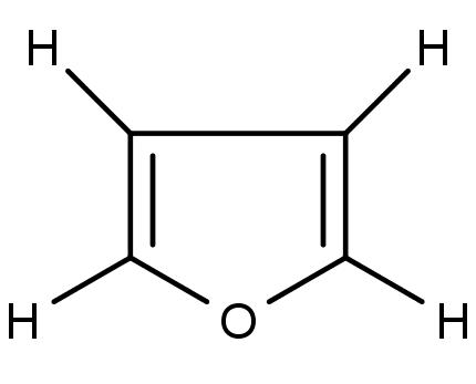 struktura furanu, jedné z chemikálií, které se odpařují z bankovek