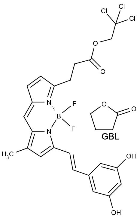 Chemická struktura gama-butyrolaktonu GBL a fluorescenčního činidla.