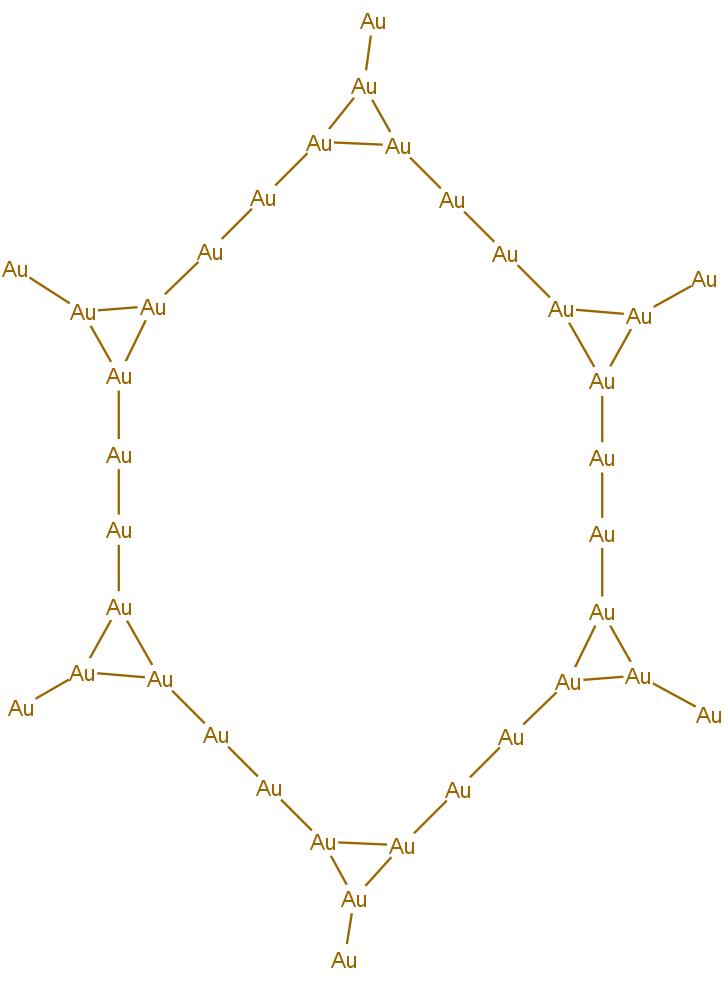 Zlatý prstenec v nové sloučenině, který dále stabilizují organické ligandy kolem něj.