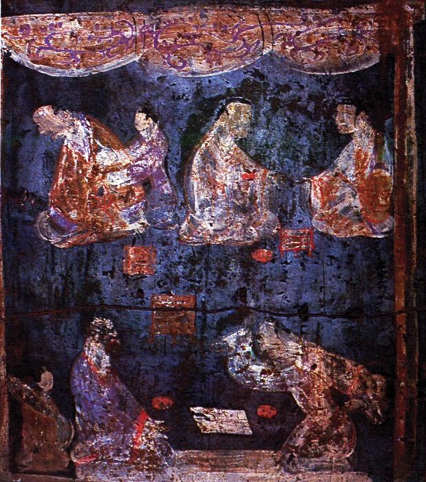 Chanská neboli čínská modř (Han blue) a chanský neboli čínský purpur (Han purple), staročínské malířské pigmenty ze syntetického křemičitanu měďnato-barnatého. Na obrázku vidíme detail malby na stěně hrobky v Luoyang v provinci Henan z období Východních Chan, Podle Wen Wu, 1992 no.12 [Public domain].