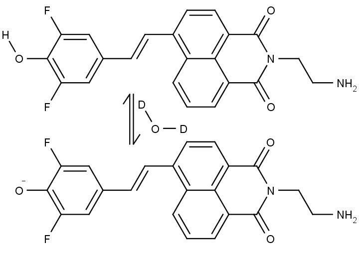 Chemická struktura činidla reagujícího na přítomnost těžké vody.