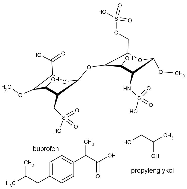 Heparin je polysacharid tvořený různými opakujícími se disacharidovými jednotky s navázanými sulfo nebo amino skupinami. Na obrázku vidíme chemickou strukturu jednoho z disacharidů. Dole chemická struktura dalších součástí hojivého gelu.