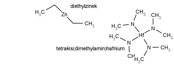 Chemická struktura tetrakis(dimethylamin)hafnia a diethylzinku.
