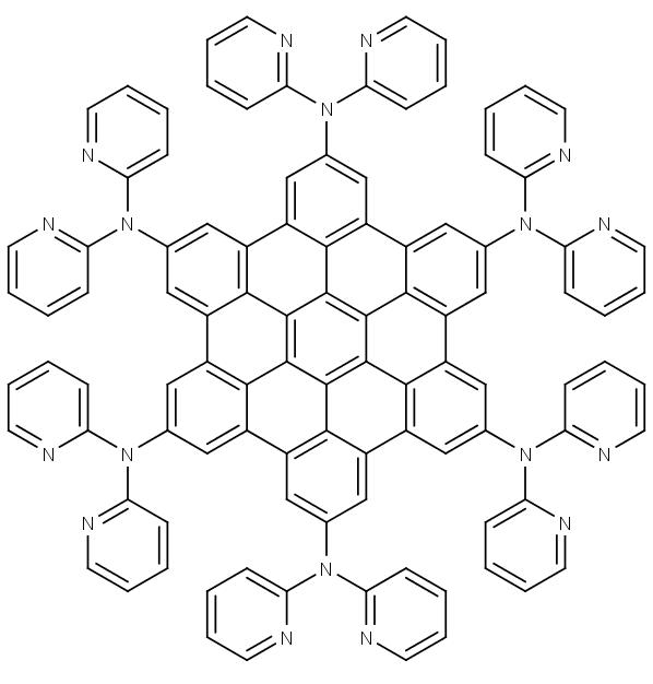 Chemická struktura sloučeniny zvané HPAHBC pro výrobu porézních membrán. Průměr molekuly činí 2,14 nm.