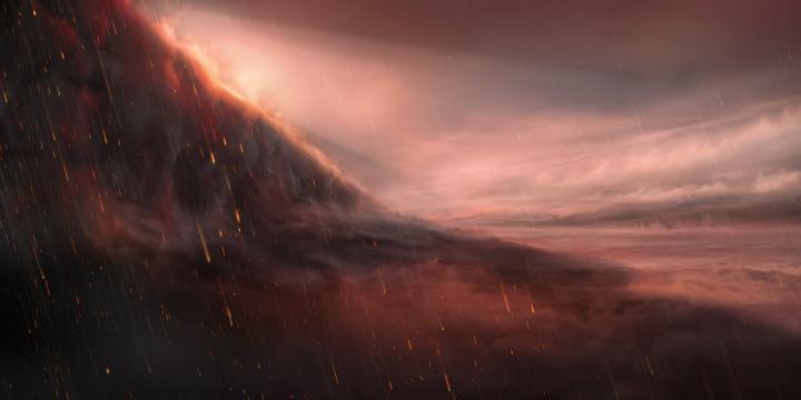 Umělecká rekonstrukce kondenzujícího železa v atmosféře planety WASP-76b, obr.ESO/M. Kornmesser.