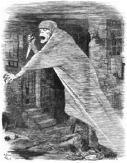 Karikatura nejznámějšího seriového vraha Jacka Rozparovače (Jack the Ripper) uveřejněná v časopise Punch v roce 1888, obr.John Tenniel [Public domain].