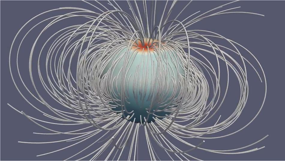 Magnetické pole planety Jupiter na základě měření sondy Juno, obr.NASA, JPL-Caltech, Harvard U., K. Moore et al.