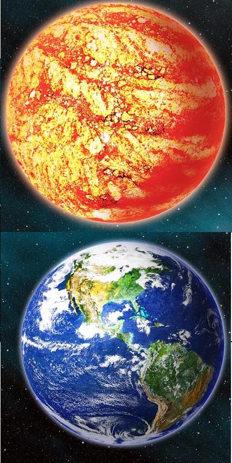 Nahoře Kepler-78b, dole Země, obr.NASA
