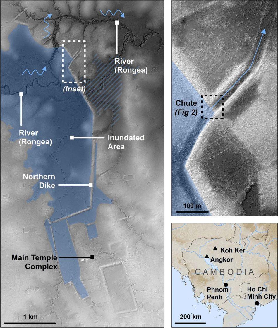 Plánek vodního díla na řece Stung Rongea, detail propusti a mapka oblasti, obr.Dr.Ian Moffat, Flinders University.