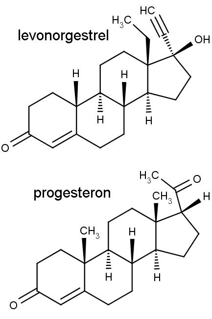 Nahoře chemická struktura levonorgestrelu, dole progesteronu.