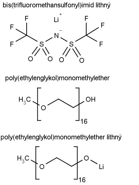 Chemická struktura sloučenin, které tvoří kapalnou lithiovou elektrodu.