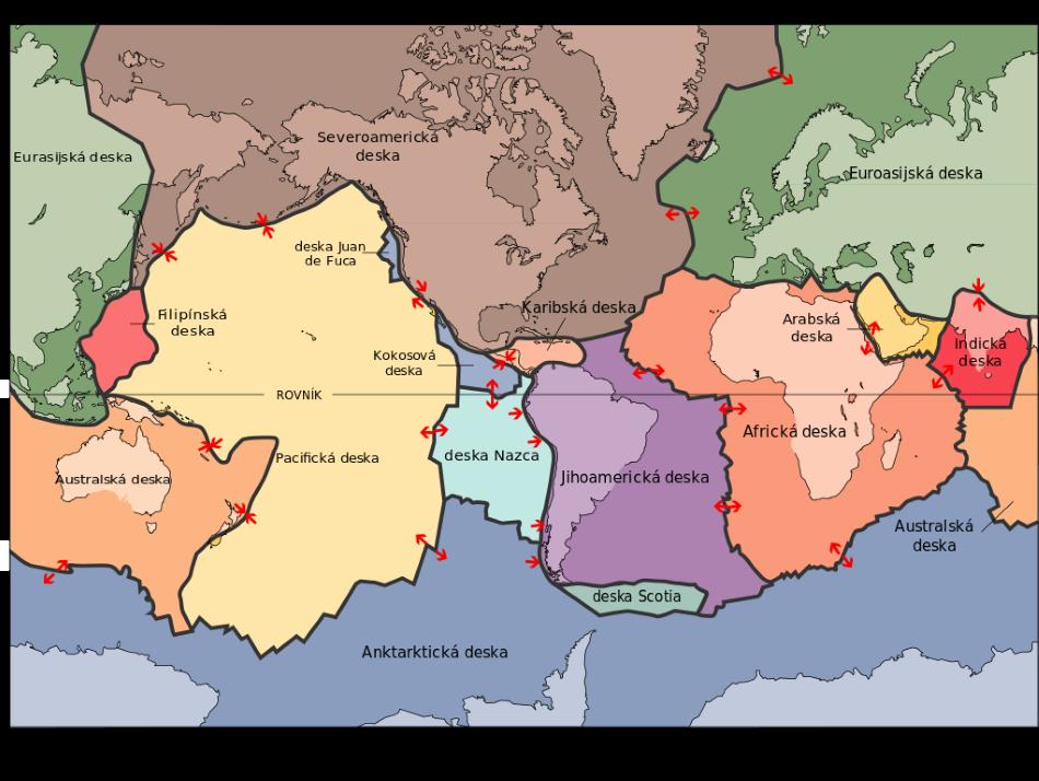 Mapa hlavních tektonických desek, Jklamo [Public domain].