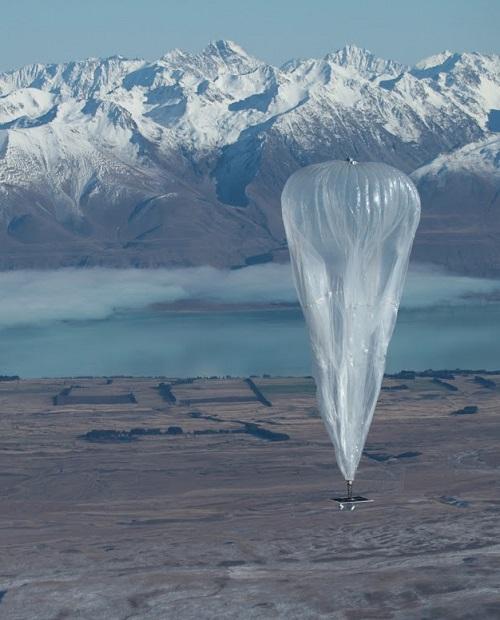stoupající balon v rámci testu projektu Google Loon, obr.Google