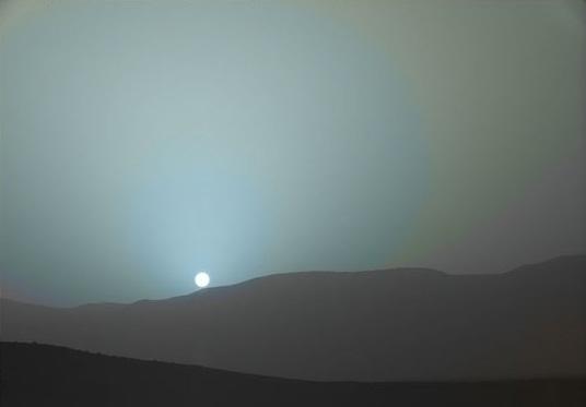 západ Slunce na Marsu, foto NASA