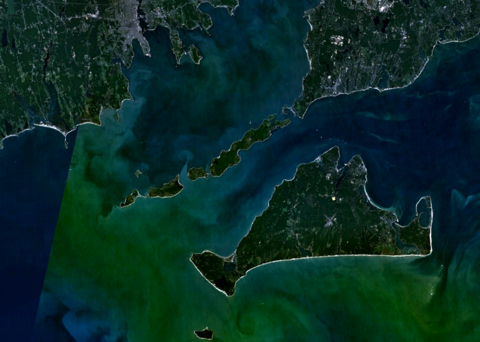 Ostrov Martha's Vineyard na satelitním snímku, NASA/Public domain, https://commons.wikimedia.org/wiki/File:Elisabeth_Islands_and_Martas_Vineyard.png  .
