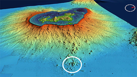 Kroužek označuje poloho nového podmořského vulkánu 35 km východně od pobřeží ostrova Mayotte, obr. BRGM (Bureau de Recherches Géologiques et Minieres).