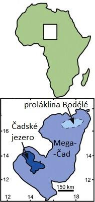 jezero Mega-Čad (K.A. Hudson-Edwards et al., Chemical Geology Volume 384, 25 September 2014, Pages 16–26, CC BY) spolu s lokalizací na africkém kontinentu. Čísla na okraji udávají severní šířku a východní délku.