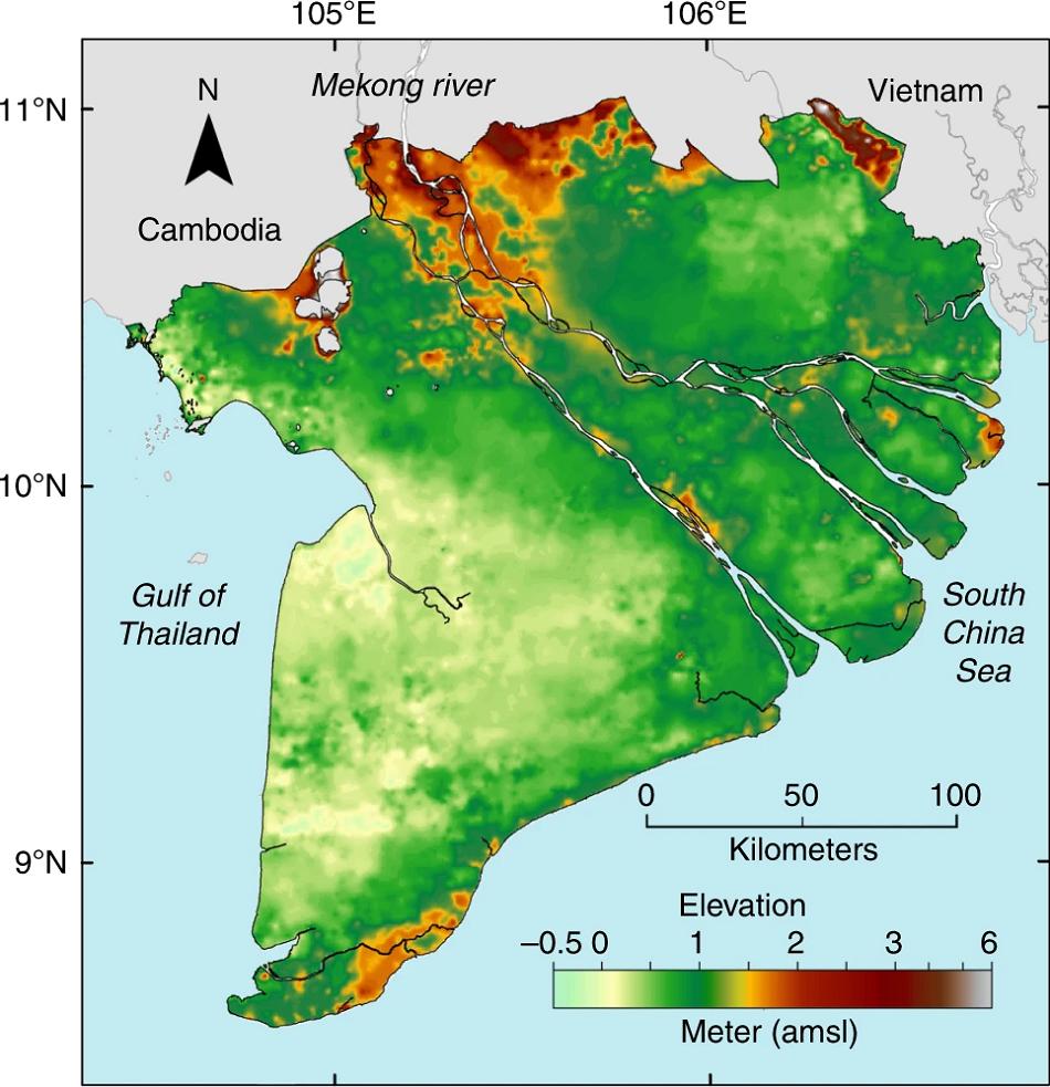 Delta řeky Mekong s přesněji určenými nadmořskými výškami. Zkratka amsl značí výška nad střední hladinou moře (above mean sea level), obr. P. S. J. Minderhoud et al., Mekong delta much lower than previously assumed in sea-level rise impact assessments, Nature Communications, volume 10, Article number: 3847 (2019), CC BY 4.0, http://creativecommons.org/licenses/by/4.0/.
