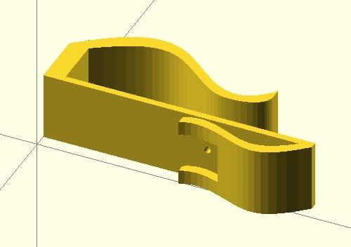 Hlavní součástku mikroskopu k mobilu pro zvětšení 350 x v programu OpenSCAD.