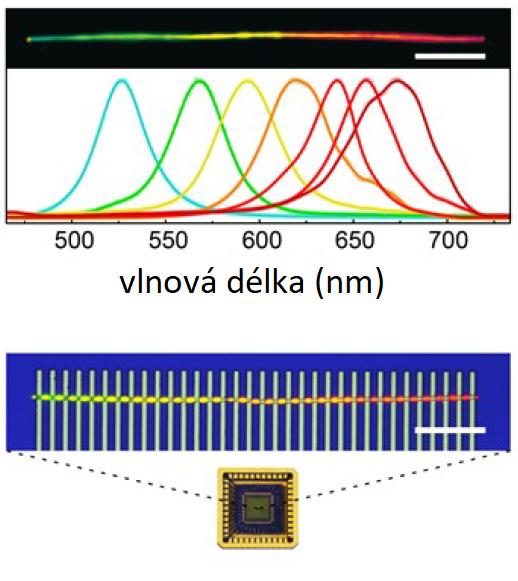 Nahoře v černém poli tyčinka ze sulfidu-selenidu kademnatého, pod ní světelné spektrum, které prochází. V modrém obdelníku indio-zlaté elektrody a úplně dole skutečný vzhled součástky, upraveno podle Z.Yang et al., Single-nanowire spectrometers, Science 365, 1017–1020 (2019).