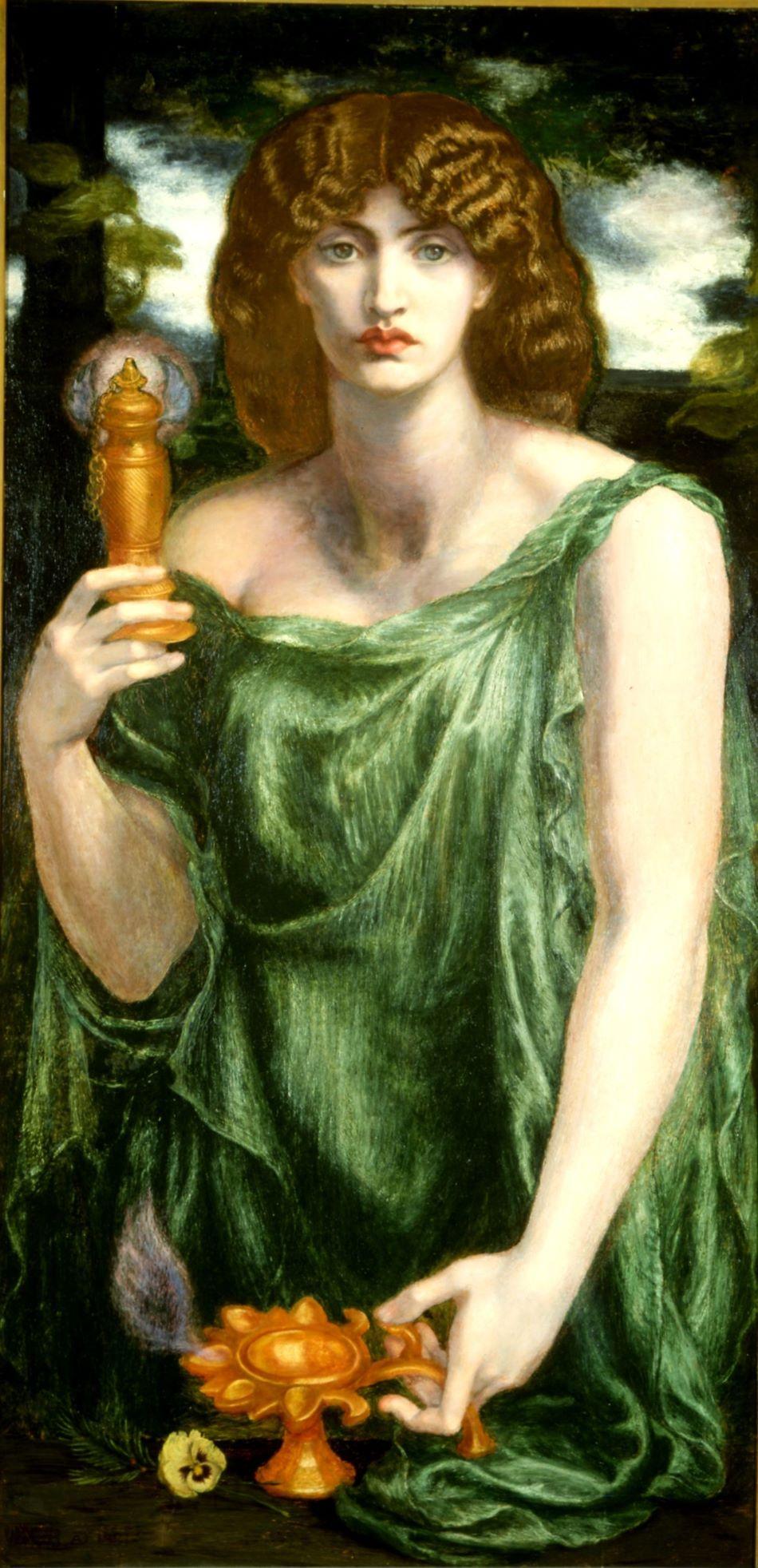 Mnémosyné, starořecká bohyně paměti, na obraze Danteho Gabriela Rossettiho, cca 1876 - 1881, Delaware Art Museum, Samuel and Mary R. Bancroft Memorial [Public domain].