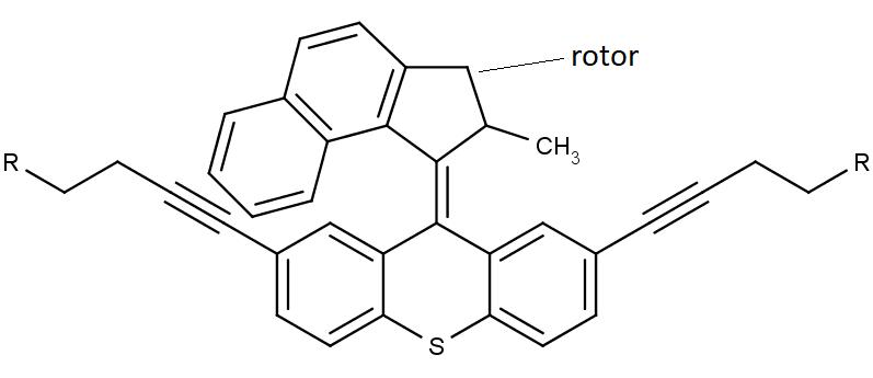 Chemická struktura molekulární vrtačky.