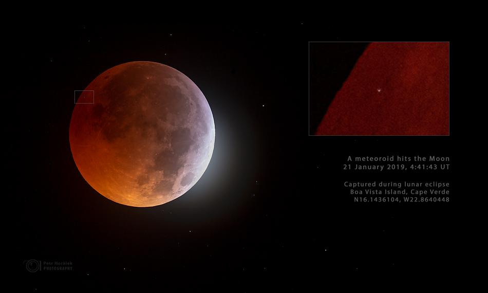 Přímý zásah Měsíce meteoroidem během zatmění 21.1.2018, foto Petr Horálek, http://www.astronom.cz/horalek/.