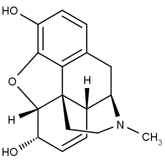 Struktura morfinu. Esterifikací hydroxylových skupin v levé části obrázku kyselinou octovou získáme heroin.